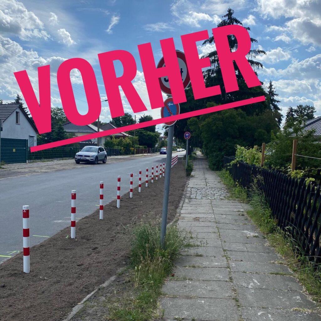 Mahlsdorf LIVE - Der Poller-Diebstahl aus der Müllerstraße: 24 neue rot-weiße Absperr-Pfosten weg