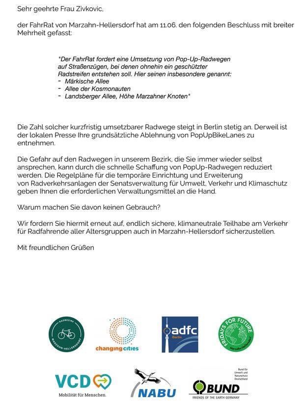 Mahlsdorf LIVE - Offener Brief: Aktivisten fordern Pop-up-Radwege in Mahlsdorf